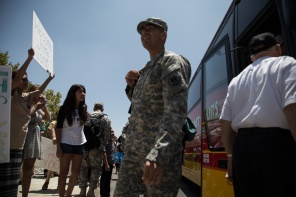 The soldiers arrive at the Readiness Center after their year long tour. Photo by Randy Vazquez.