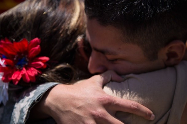 Marco Martinez having an emotional hug with his mother Consuelo Martinez. Photo by Randy Vazquez.
