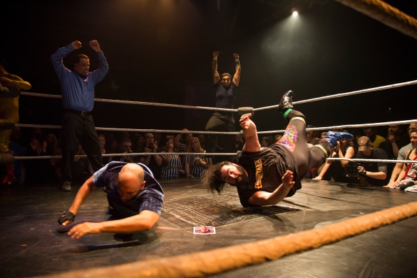 "Johnny Drinko Butabi, left, slams Scott Stoner, right, during their tag team match during ""Hoodslam"" on March 6, 2015 in Oakland, Calif. Randy Vazquez, Spartan Daily"