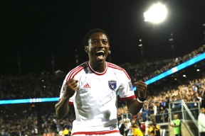 San Jose Earthquakes midfielder Cordell Cato celebrates after scoring the third goal in his team's 3-1 victory over rival LA Galaxy at Stanford Stadium in Palo Alto, Calif. on June 27, 2015. Randy Vazquez, Spartan Daily