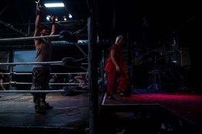 "Wrestlers warm up prior to ""Hoodslam"" on March 6, 2015 in Oakland, Calif. ""Hoodslam"" is held every first Friday of the month and combines rock and roll and wrestling culture. (Randy Vazquez)"