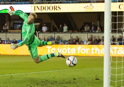 Houston Dynamo goalkeeper Joe Willis extends himself to block a shot during his teams 2-0 victory over the San Jose Earthquakes at Avaya Stadium, in San Jose, Calif. on July 10, 2015. (Randy Vazquez)