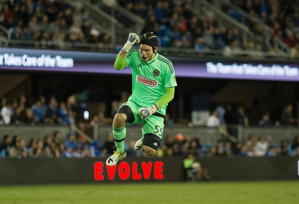 Philadelphia Union goalkeeper John McCarthy celebrates after his team scores its second goal against rival San Jose Earthquakes at Avaya Stadium in San Jose, Calif. on Sep. 5, 2015. (Randy Vazquez)