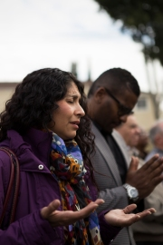 "A short prayer was delivered by different denominations at the ""Interview with an Icon"" mural unveiling on Dec. 2, 2015 in San Jose, Calif. (Randy Vazquez)"
