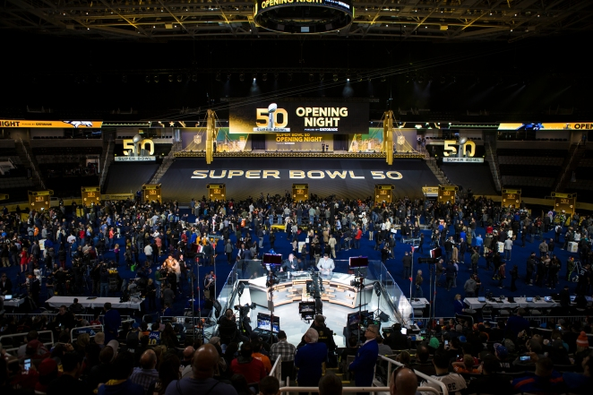 It is estimated that over 5,500 media members from around the world were present during NFL Opening Night at SAP Center in San Jose, Calif. on Feb. 1, 2016. (Randy Vazquez)