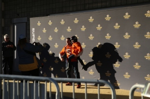 Fans of the AFC champion Denver Broncos line up to take pictures during NFL Opening Night at SAP Center in San Jose Calif. on Feb. 1, 2016. (Randy Vazquez)