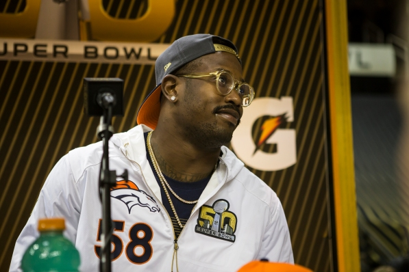 Denver Broncos sack leader outside linebacker Von Miller answers questions from the media during NFL Opening night at SAP Center in San Jose, Calif. on Feb. 1, 2016. (Randy Vazquez)