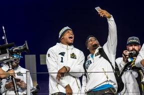 Carolina Panthers quarterback Cameron Newton and runningback Jonathan Stewart pose for a picture following the NFC champions introduction during NFL opening night at SAP Center on Feb 1, 2016. Randy Vazquez, Spartan Daily