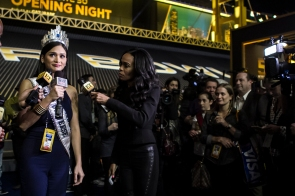 NFL Opening night at SAP Center in San Jose, Calif. was not only filled with media members from around the world but famous personalities also including Miss. Universe 2015 Pia Alonzo Wurtzbach on Feb. 1, 2016. (Randy Vazquez)