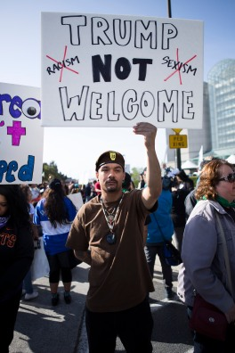Michael Garcia a member of the Brown Berets in Watsonville, Calif. protest outside of the GOP Convention in Burlingame, Calif. on April 29, 2016. (Randy Vazquez)