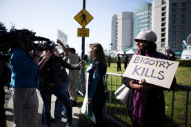 Local and national media were present outside of the Hyatt Regency San Francisco Airport Hotel for GOP Convention in Burlingame Calif. on April 29, 2016. (Randy Vazquez)