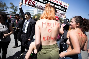 "Members of ""Free the Nipple"" show up in protest against GOP front-runner Donald Trump's remarks on women during the GOP Convention in Burlingame, Calif. on April 30, 2016. (Randy Vazquez)"