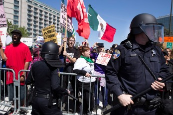 Burlingame Police Department maintains a blockade to prevent protestors from entering the GOP Convention in Burlingame, Calif. on April 29, 2016. Randy Vazquez