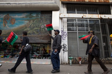 """Many stores along 125th Street in Harlem, N.Y. closed their stores early during the """"Shut'em Down"""" Black Power March on May 19, 2016. (Randy Vazquez)"""