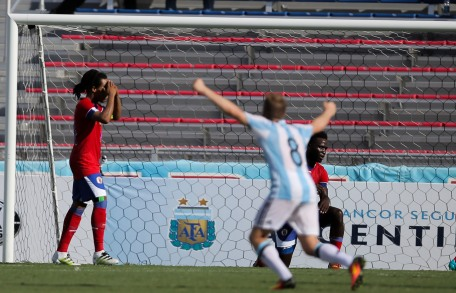 Santiago Ascacibar of Argentina celebrates after his teams first goal during a friendly versus Haiti at Florida Atlantic University Stadium on Sunday, July 24, 2016. Argentina would go on to win 3-1. Randy Vazquez, Sun Sentinel