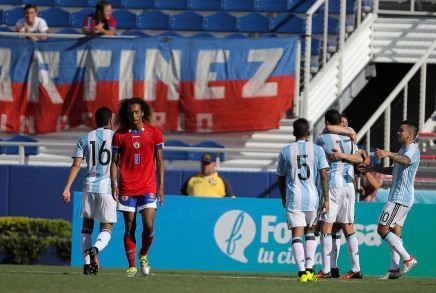 Mauricio Martinez of Argentina celebrates after opening the score for his team during a friendly versus Haiti at Florida Atlantic University Stadium on Sunday, July 24, 2016. Argentina would go on to win 3-1. Randy Vazquez, Sun Sentinel