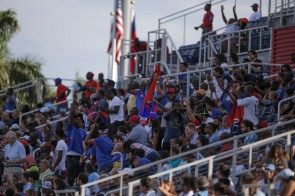 Hatian supporters celebrate their teams only goal during a friendly versus Argentina at Florida Atlantic University Stadium on Sunday, July 24, 2016. Argentina would go on to win 3-1. Randy Vazquez, Sun Sentinel