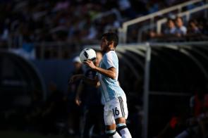 Leandro Vega of Argentina controls the ball during a friendly versus Haiti at Florida Atlantic University Stadium on Sunday, July 24, 2016. Argentina would go on to win 3-1. Randy Vazquez, Sun Sentinel