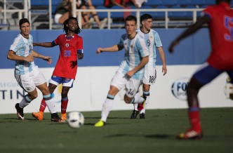 Junior Delva of Haiti makes a pass during a friendly versus Argentina at Florida Atlantic University Stadium on Sunday, July 24, 2016. Argentina would go on to win 3-1. Randy Vazquez, Sun Sentinel