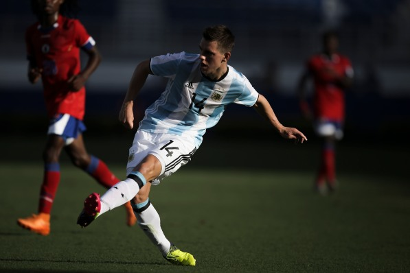 Giovani Lo Celso of Argentina makes a pass to a teammate during a friendly versus Haiti at Florida Atlantic University Stadium on Sunday, July 24, 2016. Argentina would go on to win 3-1. Randy Vazquez, Sun Sentinel