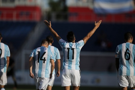Giovanni Simeone of Argentina celebrates scoring his teams third and final goal during a friendly versus Haiti at Florida Atlantic University Stadium on Sunday, July 24, 2016. Argentina would go on to win 3-1. Randy Vazquez, Sun Sentinel