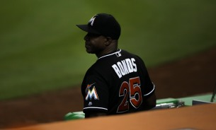Miami Marlins hitting coch Barry Bonds looks out on to the field on Wednesday, July 26, 2016. The Marlins would go on to win the game 11-1 over the Phillies .Randy Vazquez, Sun Sentinel