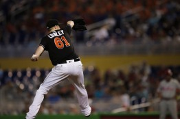 Adam Conley of the Miami Marlins gets his seventh win of the season on Wednesday, July 26, 2016. The Marlins would go on to win the game 11-1 over the Phillies .Randy Vazquez, Sun Sentinel