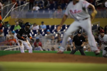 Marcell Ozuna of the Miami Marlins takes a few steps away from first base on Wednesday, July 26, 2016. The Marlins would go on to win the game 11-1 over the Phillies .Randy Vazquez, Sun Sentinel