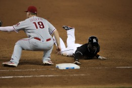 Adeiny Hechavarria of Miami Marlins slides into first base to avoid an out on Wednesday, July 26, 2016. The Marlins would go on to win the game 11-1 over the Phillies .Randy Vazquez, Sun Sentinel