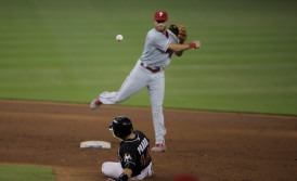 Martin Prado of Miami Marlins slides into second base on Wednesday, July 26, 2016. The Marlins would go on to win the game 11-1 over the Phillies .Randy Vazquez, Sun Sentinel