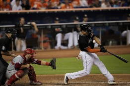 Giancarlo Stanton of the Miami Marlins fouls a ball on Wednesday, July 26, 2016. The Marlins would go on to win the game 11-1 over the Phillies .Randy Vazquez, Sun Sentinel