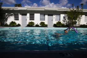Francesco Angusti plays in the pool of the Fortuna Hotel in Fort Lauderdale on Friday, June 24, 2016. The Fortuna is part of a string of new small hotels that have opened in the central beach of Fort Lauderdale. Some of the other new hotels include Sibi Beach Hotel and Nobleton Hotel. More new chain and boutique hotels are also set to open in and around the area. Randy Vazquez, Sun Sentinel