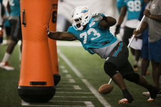 Defensive tackle Julius Warmsley (73) rusn drills during Miami Dolphins training camp in Davie on Aug. 2, 2016. Randy Vazquez, Sun Sentinel