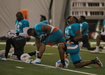 Cameron Wake, right, stretches next to teammates Ndamukon Suh, center, and Mario Williams, left, during Miami Dolphins training camp in Davie on Aug. 2, 2016. Randy Vazquez, Sun Sentinel