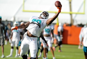 Tight end Dion Sims (80) catches a pass during Miami Dolphins training camp in Davie on Aug. 5, 2016. Randy Vazquez, Sun Sentinel