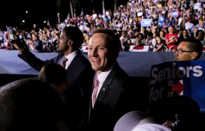 U.S. Representative Patrick Murphy attends a rally for democratic presidential nominee Hillary Clinton in Fort Lauderdale on Tuesday. This is the second visit Clinton has made in Broward in recent days. Randy Vazquez, Sun-Sentinel