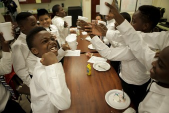 Some students at Forest Park Elementary in Boynton Beach are learning to be gracious young men during the Gentleman's Club, which meets after school every other Tuesday. Some of the students made a toast at the end of this weeks meeting. Randy Vazquez, Sun-Sentinel