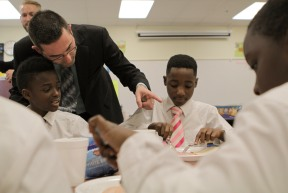 Some students at Forest Park Elementary in Boynton Beach are learning to be gracious young men during the Gentleman's Club, which meets after school every other Tuesday. Randy Vazquez, Sun-Sentinel