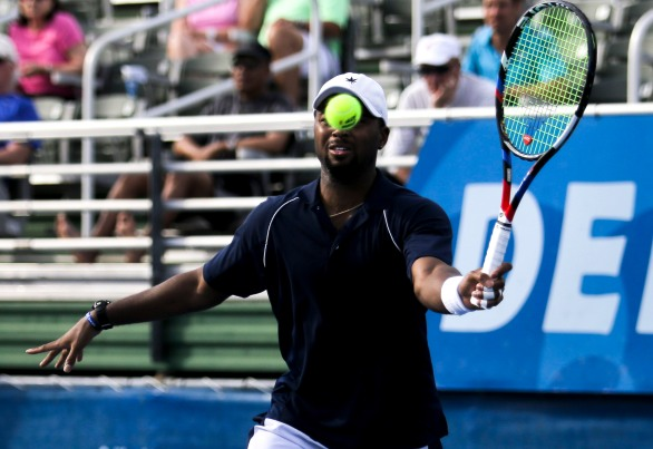 Donald Young returns a ball hit by Ivo Karlović during their match at the Delray Beach Open at the Delray Beach Tennis Center on Tuesday, Feb. 21, 2017. Randy Vazquez, South Florida Sun-Sentinel