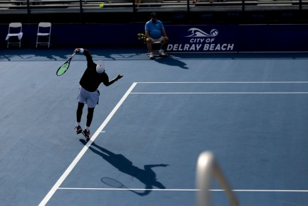 Donald Young serves to Ivo Karlović during their match at the Delray Beach Open at the Delray Beach Tennis Center on Tuesday, Feb. 21, 2017. Randy Vazquez, South Florida Sun-Sentinel