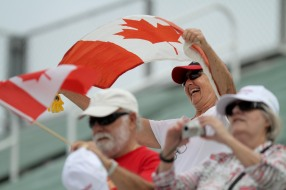 A fan waves the Canadian flag during the Delray Beach Open at the Delray Beach Tennis Center on Tuesday, Feb. 21, 2017. Randy Vazquez, South Florida Sun-Sentinel
