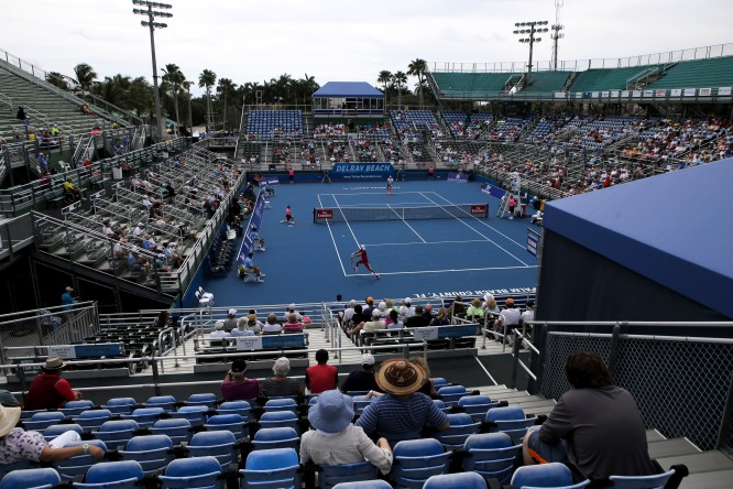 Fans watch the match between Radu Albot and Jack Stock during the Delray Beach Open at the Delray Beach Tennis Center on Tuesday, Feb. 21, 2017. Randy Vazquez, South Florida Sun-Sentinel