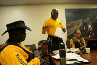 Members of the Buffalo Soldiers Motorcycle Club Miami Chapter volunteer in the community, discuss history, and ride their bikes all over the country. The group is named after the black soldiers in the US Army's 9th and 10th Calvary units that fought against Native Americans on the western frontier after the Civil War. The members meet once a month to discuss topics related to the club and make history personations. Alvin Forbes, center, makes a presentation during the teams monthly meeting Saturday in Sunrise. Randy Vazquez, South Florida Sun-Sentinel