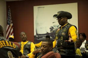 Members of the Buffalo Soldiers Motorcycle Club Miami Chapter volunteer in the community, discuss history, and ride their bikes all over the country. The group is named after the black soldiers in the US Army's 9th and 10th Calvary units that fought against Native Americans on the western frontier after the Civil War. The members meet once a month to discuss topics related to the club and make history personations. Syd Severe, right, talks during the clubs monthly meeting in Sunrise on Saturday. Randy Vazquez, South Florida Sun-Sentinel