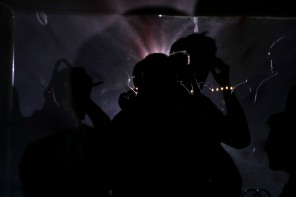 People at Okeechobee Music and Art Festival take part in a silent disco on Thursday nigh. In a silent disco people wear headphones as they listen to music being played by the DJ. Randy Vazquez, South Florida, Sun-Sentinel
