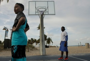 Tristen Johnson, left, and Thomas Wilcox, right, play basketball on the courts at Fort Lauderdale Beach on April 18, 2017. Randy Vazquez, South Florida Sun-Sentinel