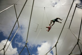 Charlotte Glass, left, reaches for Marcos Melo's hands, right, during a trapeze activity at the Levis Jewish Community Center Marleen Forkas Summer Camp in Boca Raton on Tuesday, June 20, 2017. Randy Vazquez, South Florida Sun-Sentinel