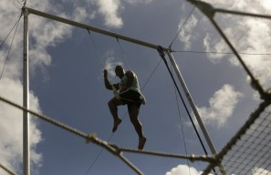 Marcos Santos sits on a swing during a trapeze activity at the Levis Jewish Community Center Marleen Forkas Summer Camp in Boca Raton on Tuesday, June 20, 2017. Randy Vazquez, South Florida Sun-Sentinel