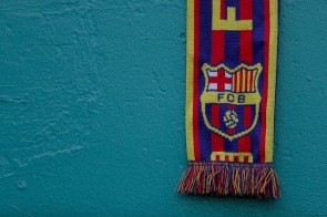 A Barcelona scarf hangs over one of the walls at Hard Rock Stadium on Saturday, July 29, 2017. Randy Vazquez, South Florida Sun-Sentinel