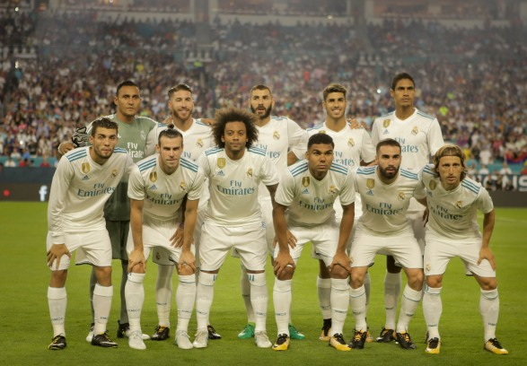 Real Madrid team photo Saturday prior to their game versus rival Barcelona at Hard Rock Stadium. Randy Vazquez, South Florida Sun-Sentinel
